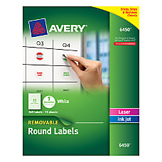Avery Removable Round InkjetLaser Multipurpose Labels