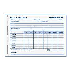 Rediform Weekly Time Card Pad Gummed