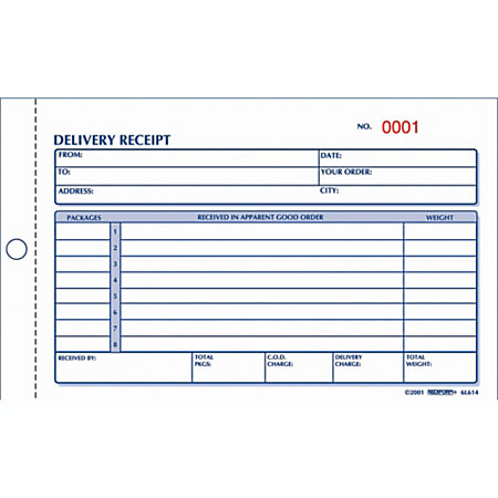 Rediform Delivery Receipt Book 2 Part by Office Depot OfficeMax – Hand Delivery Receipt