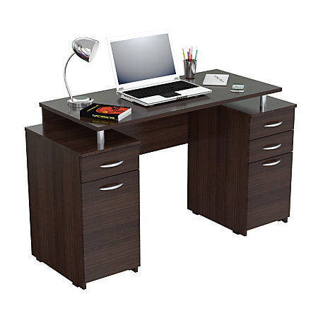 Inval computer desk with 4 drawers espresso wengue by office depot officemax - Office max office desk ...