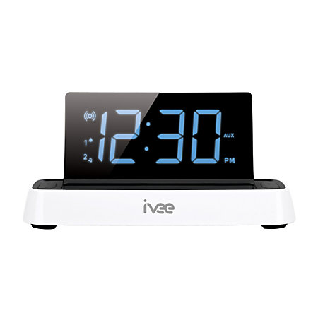 ivee flex digital alarm clock radio white by office depot. Black Bedroom Furniture Sets. Home Design Ideas