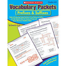 Scholastic Vocabulary Packet Prefixes And Suffixes