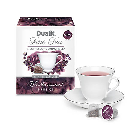 dualit and nespresso compatible nx tea capsules black current 7 oz pack of 75 by office depot. Black Bedroom Furniture Sets. Home Design Ideas