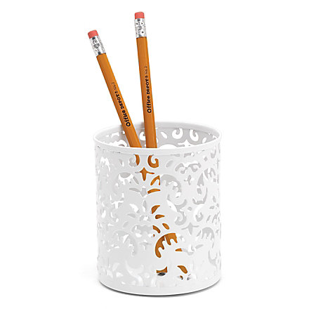 Realspace Brocade Pencil Cup White by Office Depot & OfficeMax