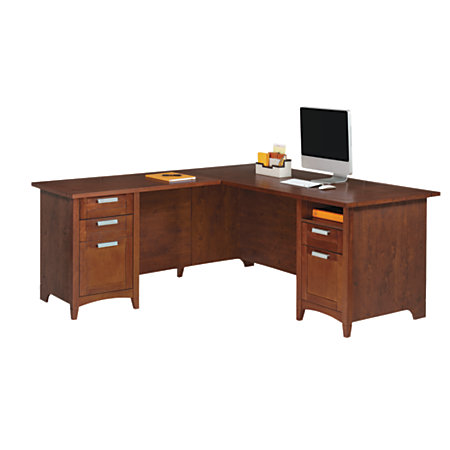 Realspace marbury l shaped desk auburn brown by office depot officemax - Office depot home office desk ...
