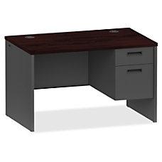 Lorell MahoganyCharcoal Pedestal Desk 48 x
