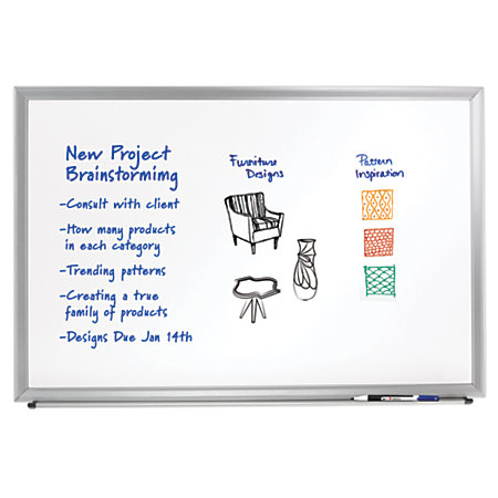foray aluminum framed dry erase board with marker 18 x 24