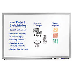 """FORAY™ Aluminum-Framed Dry-Erase Board With Marker, 36"""" x 48"""", White Board, Silver Frame"""
