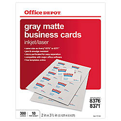 Office depot brand matte business cards 2 x 3 12 gray pack for Office depot design business cards
