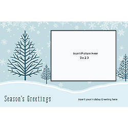 Photo Greeting Card Horizontal Blue With