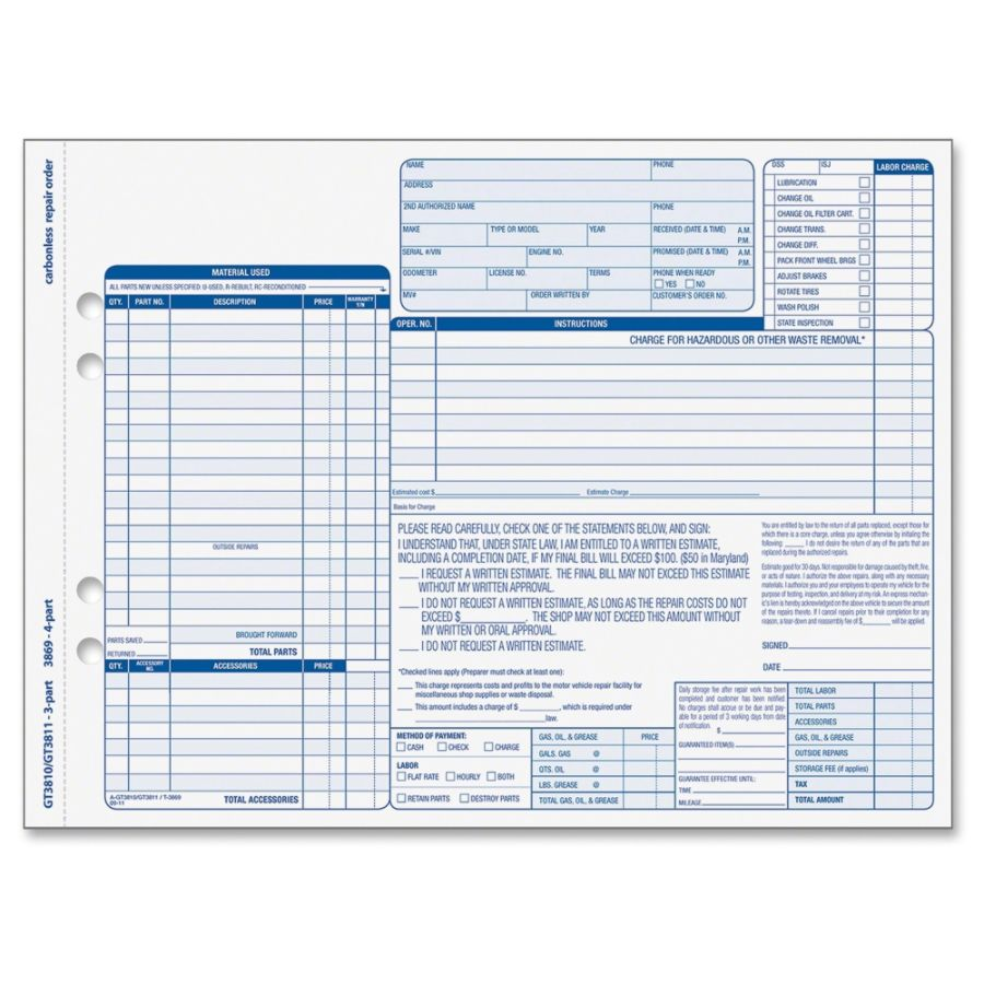Tops Garage Repair Order Unit Set  Sheets  Lb  Part