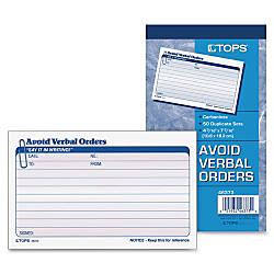TOPS Avoid Verbal Orders Book 50