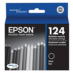 Epson® 124, (T124120) DuraBrite® Ultra Black Ink Cartridge