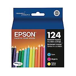 Epson® 124, (T124520) DuraBrite® Ultra Tricolor Ink Cartridges, Pack Of 3