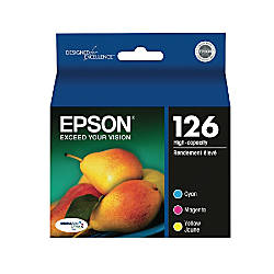 Epson® 126, (T126520) DuraBrite® Ultra Tricolor Ink Cartridges, Pack Of 3