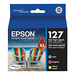 Epson® 127, (T127520-S) DuraBrite® Ultra Tricolor Ink Cartridges, Pack Of 3