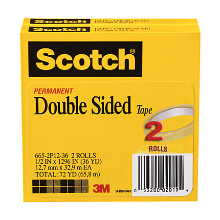 scotch 665 permanent double sided tape 12 x 1296 pack of 2 by office depot officemax. Black Bedroom Furniture Sets. Home Design Ideas