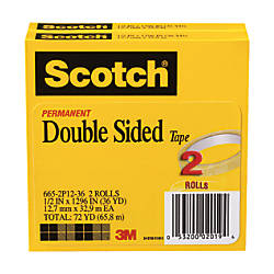 "Scotch® 665 Permanent Double-Sided Tape, 1/2"" x 1296"", Pack Of 2"