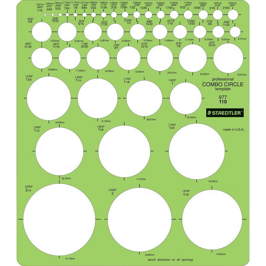 staedtler mars template circle combo