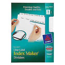 Avery Index Maker 20percent Recycled Clear