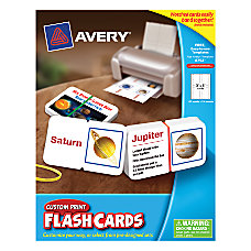 Avery Custom Print Flash Cards Notched
