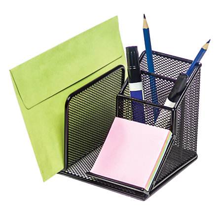 Brenton studio metro mesh desk organizer black by office - Desk organizer ...