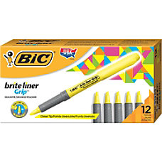 BIC Brite Liner Grip Highlighters Yellow