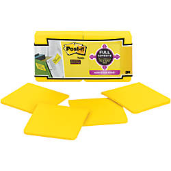 "Post-it® Super Sticky Full Adhesive Notes, 3"" x 3"", Electric Yellow, 25 Sheets Per Pad, Pack Of 12 Pads"
