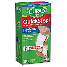 Curad QuickStop Bandages 30Box White Fabric