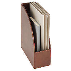 Realspace Brown Leatherette Magazine Holder