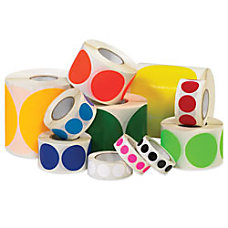 Removable Round Color Inventory Labels 12