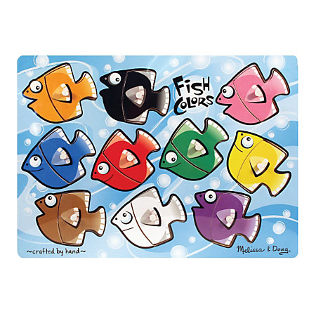 Melissa doug fish colors mix n match 10 piece peg puzzle by office depot officemax - Matching wood pieces of different colors ...