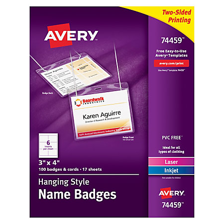 avery hanging name badge kit 3 x 4 box of 100 by office depot officemax. Black Bedroom Furniture Sets. Home Design Ideas