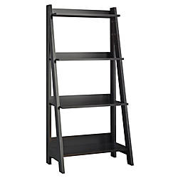Bush Furniture Alamosa Ladder Bookshelf Classic Black