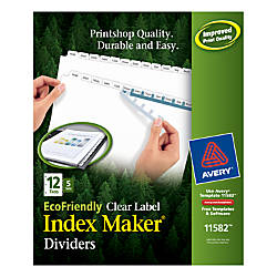 Avery EcoFriendly Index Maker 30percent Recycled