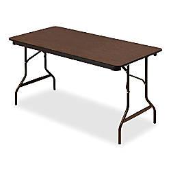 Iceberg economy folding table rectangle 60 w x 30 d walnut for Office depot folding tables