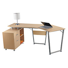 Realspace Brent Dog Leg Desk Oak