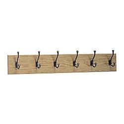 Safco 6 Hook Wood Wall Rack