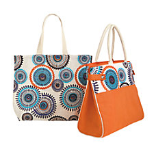 GNBI Jute Totes OrangeStarburst Set Of