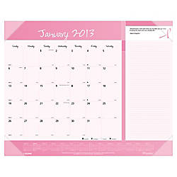 "Brownline® 50% Recycled Pink Ribbon Desk Pad Calendar, 22"" x 17"", January-December 2013"