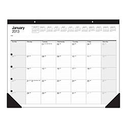 "Office Depot® Brand 30% Recycled Desk Pad Calendar, 22"" x 17"", January-December 2013"