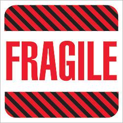 Tape Logic Preprinted Labels Fragile Square