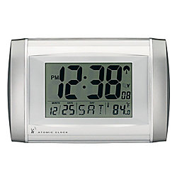 Tempus Radio Controlled Digital Clock Two Tone Silver By