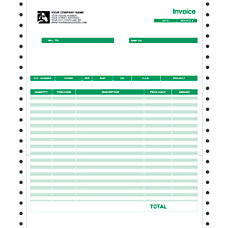 Continuous Forms For Invoice QuickBooks 9