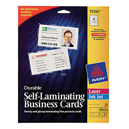 Avery self laminated business cards 2 x 3 12 white pack of for Office depot business card printing