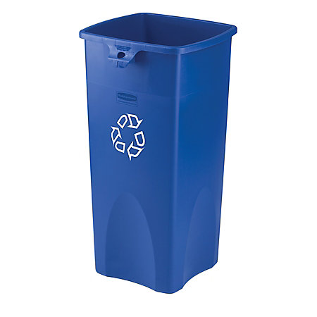 Rubbermaid square recycling container bluewhite by office depot officemax - Home depot recycling containers ...