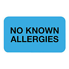 Tabbies Permanent No Known Allergies Label