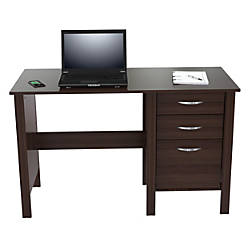inval writing desk 3 drawers espressooffice depot & officemax