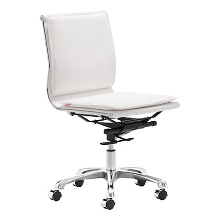 zuo lider plus armless low back office chair whitechrome by office depot officemax. Black Bedroom Furniture Sets. Home Design Ideas