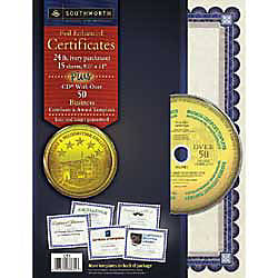 Southworth® Award/Certificate Paper & Templates, Ivory With Blue Border, Pack Of 15